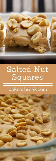 Five ingredients are all you need to make these Salted Nut Squares. A great no-bake sweet and salty treat! - Bake or Break ~ http://www.bakeorbreak.com
