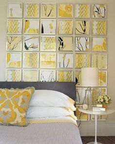 This is a wonderful wall and inexpensive to create. Using printed wallpaper or wrapping paper and inexpensive frames this look makes a real statement!