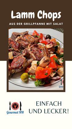 Leckere, mediterran gewürzte Lammchops aus der Grillpfanne mit Salat - low carb. Rezept auch für Anfänger geeignet! Feta, Low Carb, Gourmet, Simple Recipes, Side Dishes, Fresh, Crickets, Easy Meals