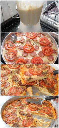 Receita de Pizza de Liquidificador, muito fácil e gostosa, aprenda a fazer! #pizza #liquidificador #massa #recheio #salgado #receita #gastronomia #culinaria #comida #delicia #receitafacil