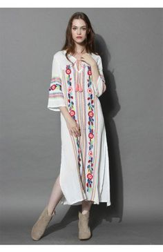 Boho Blossom Maxi Crepe Dress in White - Dress - Retro, Indie and Unique Fashion