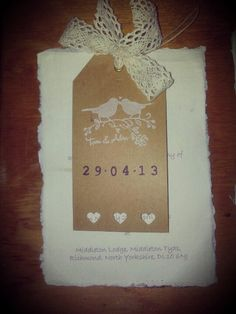 My wedding invite handmade by me... save the date magnet on top.