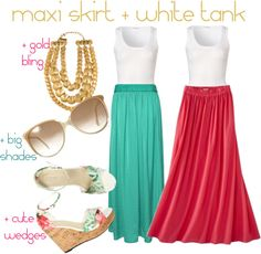 Effortless Summer Style: Maxi + White Tank