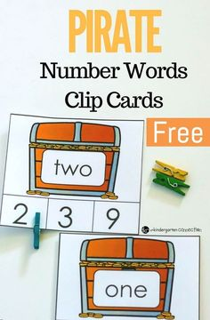 These Pirate Number Words Clip Cards are a great math center for Kindergarten or early 1st graders to work on identifying number words to 20! #kindergarten #kindergartenmath #preschool #prek #finemotor #freeprintable #numberwords #clipcards
