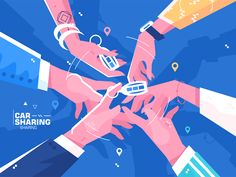 Buy Car Sharing Hand Holding Auto Keys by on GraphicRiver. Practice of share automobile for regular traveling or commuting flat style concep. Car Illustration, Character Illustration, Graphic Design Illustration, Magazine Illustration, Pose Reference Photo, Isometric Design, Affinity Designer, Calendar Design, Motion Design