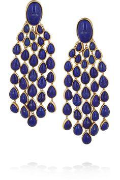 Aurélie Bidermann|Cherokee gold-plated lapis lazuli clip earrings|NET-A-PORTER.COM