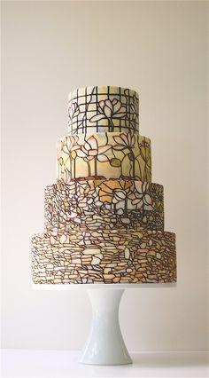 stained glass wedding cake = amazing