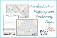 Free Amelia Earhart Mapping and Notebooking Pages