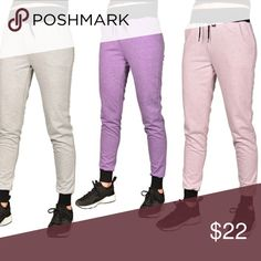 (Juniors) Solid joggers with ribbed trim Stylish and practical, these jogger sweatpants are equally useful for lounging at home or hanging with friends. Fashionable, slim fit style, soft French terry fabric, drawstring waistband, ribbed hems, 65% cotton and 35% polyester. This listing is for the brown Pants Track Pants & Joggers