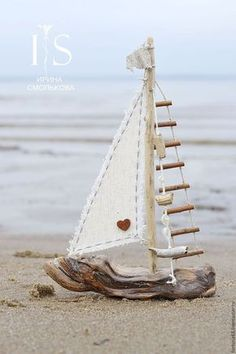 a small boat design by Irina Smol & kova. My Livemaster.Beige, …, The post Kindergarten handmade. a small boat design by Irina Smol'kova. My live master.Beige, … appeared first on Woman Casual. Driftwood Projects, Driftwood Art, Seashell Crafts, Beach Crafts, Wood Crafts That Sell, Boat Design, Design Design, Small Boats, Beach Themes