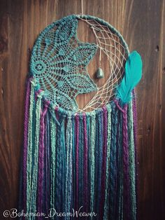 Mermaid boho Dream Catcher - nursery decor - bohemian Dreamcatcher - teal purple- Bohochic wall art hanging - hippie large - gypsy - teen - by BohemianDreamweaver on Etsy https://www.etsy.com/listing/292640315/mermaid-boho-dream-catcher-nursery-decor
