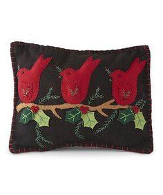 Berry Cardinal Wool-Blend Throw Pillow #zulily #zulilyfinds