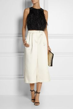 TIBI Satin culottes J.CREW + Sophia Webster Nicole patent-leather and calf hair sandals