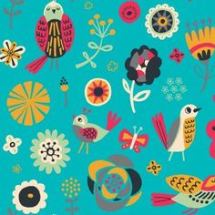 100% Cotton Fabric For Quilting And Crafting By Emma And Mila from the Birds of A feather Collection: Flowers in Turquise