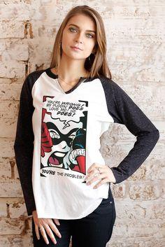 Camiseta Raglan Feminina 7/8 Harley Quinn You´re The Problem