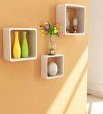 Set of 3 Cube Shelves - White