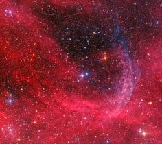WR 134 Ring Nebula, 6,000 light-years away: Embedded in the region's interstellar clouds of gas and dust, the glowing arcs are sections of bubbles or shells of material swept up by the wind from Wolf-Rayet star WR 134, brightest star near the center of the frame. Shedding their outer envelopes in powerful stellar winds, massive Wolf-Rayet stars have burned through their nuclear fuel at a prodigious rate and end this final phase of massive star evolution in a spectacular supernova explosion.