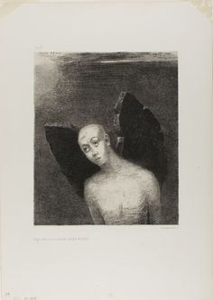 Odilon Redon - The Lost Angel Then Opened Black Wings, from Night, 1886, Lithograph  | The Art Institute of Chicago
