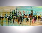 """SALE 50% OFF ---72"""" ORIGINAL Large Abstract Modern Cityscape Texture Palette Knife Painting"""