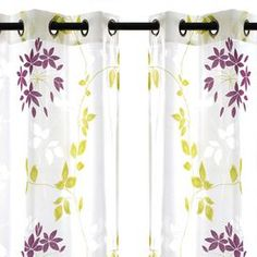 """Set of two grommet-topped curtain panels with vine motifs.   Product: Set of 2 curtain panelsConstruction Material: Polyester and rayonColor: Purple and greenDimensions: 95"""" H x 52"""" W eachCleaning and Care: Machine wash in warm water. Tumble dry on a delicate setting. Do not bleach. Iron on low heat if necessary."""