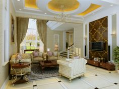 Uniquely textured living room features ornate ceiling design with raised yellow self-lit areas over patterned marble tile flooring. Claw-foot chairs surround large dark wood coffee table, which matches the entertainment stand. Gold trim all around.
