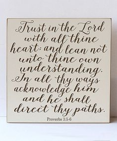 Another great find on #zulily! Cream & Brown 'Trust In the Lord' Wall Sign #zulilyfinds