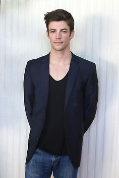 Grant Gustin at a press conference for The Flash at the HFPA Offices in West Hollywood.