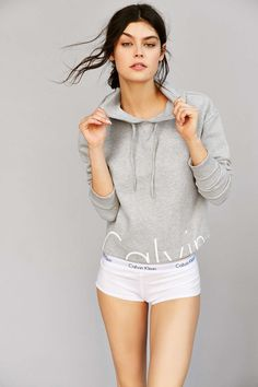 Model wears Sweatshirt for Calvin Klein Jeans Lookbook Photoshoot