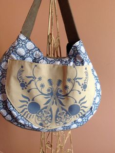Dual Mandolin and Ice Flower Blue Gray Le Croissant Sac Collection Hobo Style Large Shoulder Bag
