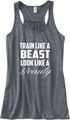 Workout Tank Train Like a Beast Look Like a by sunsetsigndesigns