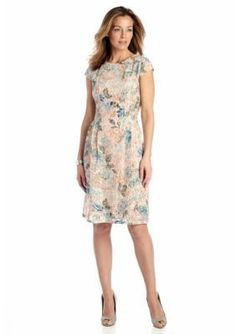 Madison Leigh  Floral Printed Lace Fit and Flare Dress