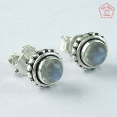 RAINBOW MOON STONE ROUND BEAUTY 925 STERLING SILVER STONE STUDS JEWELRY ST4850 #SilvexImagesIndiaPvtLtd #Stud