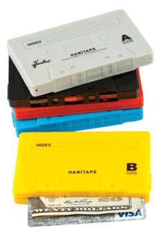 Cassette tape wallets made of rubber.