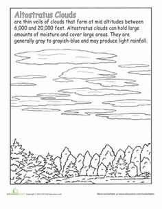 Meet the altostratus cloud, a thin cloud that sometimes makes rain, in this earth sceince worksheet.