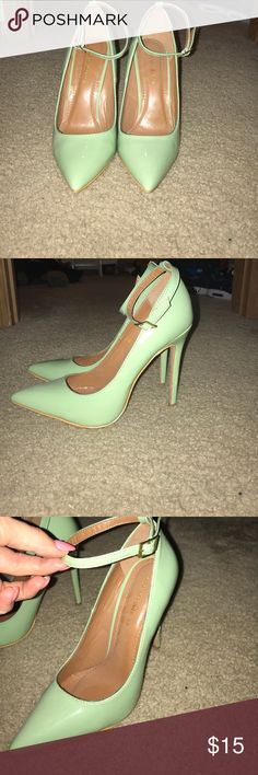 Mint green heels Mint green heels. Only worn once. 8.5 but fit more like a small 8 or larger 7.5. Great condition, little scuff on heel, see photo. Shoes Heels