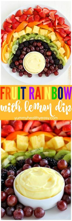 How about making a FUN Fruit Rainbow with Lemon Dip?! It will be the hit of your party! The Lemon Dip is so creamy and delicious. It goes perfectly with the fruit!