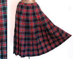 Authentic Pendleton Pleated Skirt Black by LilBlackDressVintage, $25.00