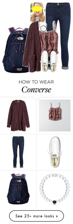 """Outfit idea #2"" by katieegarvey on Polyvore featuring Frame Denim, American Eagle Outfitters, The North Face, H&M, Converse and schooooloutfitz"