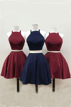 Prom Dresses Short #PromDressesShort, Blue Prom Dresses #BluePromDresses, Two Pieces Prom Dresses #TwoPiecesPromDresses, Navy Blue Prom Dresses #NavyBluePromDresses, Burgundy Prom Dresses #BurgundyPromDresses