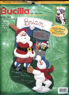 Bucilla Other Hand Embroidery Kits Christmas Stocking Kits, Felt Christmas Stockings, Cute Stockings, Felt Stocking, Santa Christmas, Christmas Holidays, Christmas Decor, Santa Stocking, Holiday Fun