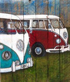 Hand geschilderd Vintage VW bussen op een handgemaakte lat. hout doek. Lat. hout heeft van een oude vakman thuis zijn geborgen. Dit lieve kleine schilderij zou maken een perfecte gift voor iedere VW liefhebber. Al het hout die ik gebruik is geborgen en wellicht krassen, inkepingen,