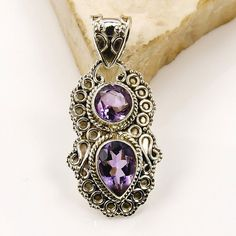Violet Flame Amethyst Pendant & .925 Sterling by TheSilverPlaza