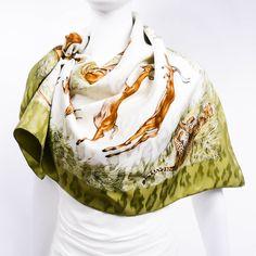 Authentic Hermes Silk Jacquard Scarf Kenya by Robert Dallet Khaki – Carre de Paris