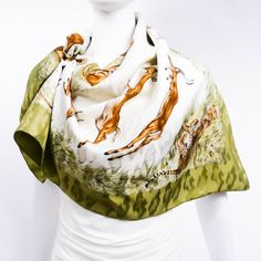 Authentic Hermes Silk Jacquard Scarf Kenya by Robert Dallet Khaki – Carre de Paris
