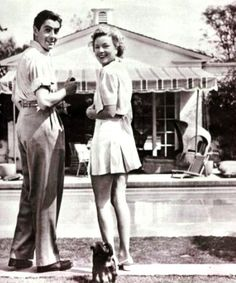 Tyrone Power and wife (French acrtess) Anabella , c. 1939 -1941   by Vintage Gazette