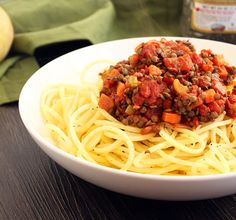 Chunky Lentil Potato Noodle Bolognese   Bob's Red Mill Giveaway