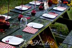 We are using picnic tables for the reception... So many cool ideas for this!