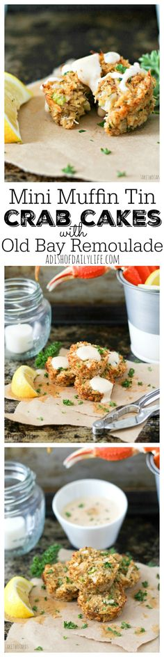 Crab cakes are a great appetizer or main dish for dinner! This Muffin Tin Crab Cakes recipe is full of lump crab meat and have the right amount of spice! Easy enough for a week night, elegant enough for a special occasion. Drizzle with Old Bay Remoulade for a treat that will take you to the sea!