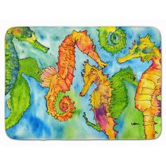 Caroline's Treasures Seahorse Leash or Key Holder at Lowe's. The tile is made from a hardhoard and is mounted to a metal rectangle. The hooks hang down from the metal plate in the back and is about in. Seahorse Painting, Mdf Wall Panels, Coastal Wall Art, Coastal Living, Key Hooks, Outdoor Throw Pillows, Painting Prints, Tapestry, Tile