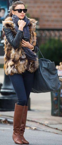 Irina Shayk with fur vest and Louis Vuitton scarf Louis Vuitton Scarf, Love  Fashion, d33c3337997